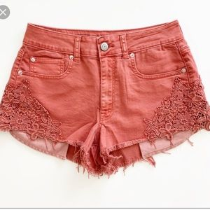 AE High Rise Festival Lace Jean Shorts